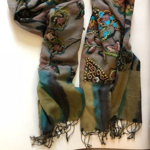 Accessories - Floral embroidered pashmina large wrap/scarf, NEW